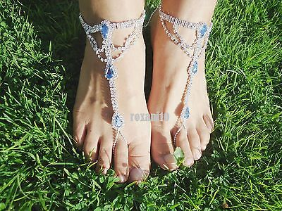 Something Blue Barefoot Sandals Beach-Wedding Bridal Bridesmaid -Foot Jewellery