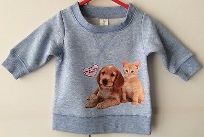Baby Girls Or Boys Blue Size 000 Fleecy Jumper With Cute Cat & Dog Picture