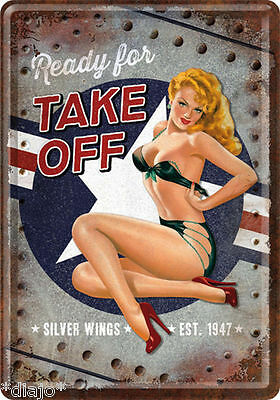 Nostalgic Art Blechpostkarte Ready for Take off Sexy Lady Pin Up Silver Wings