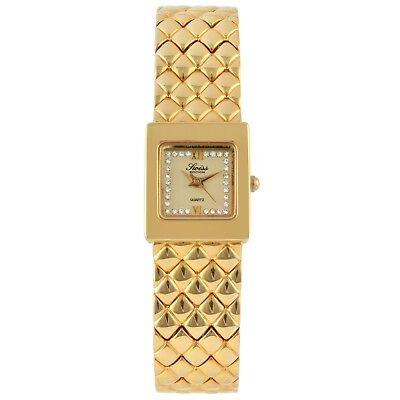 Swiss Edition 24K GOLD PLATED & Stainless Metal Women Quilted Watch