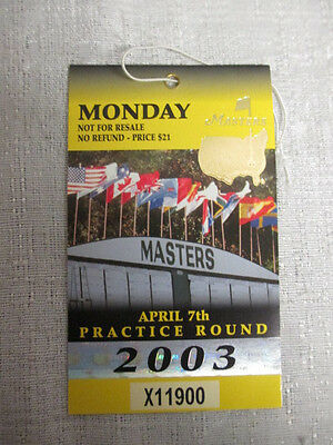 Set of Two 2003 Augusta Masters Tournament Practice Round Tickets Mike Weir