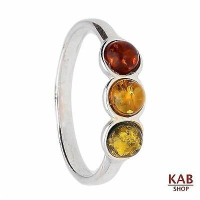 Baltic Amber Stone Sterling Silver 925 Ring. Kab-R16