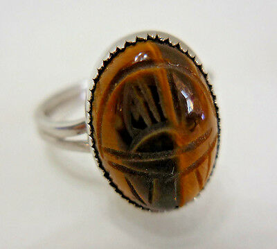 Vintage Tigers Eye Scarab Adjustable Ring