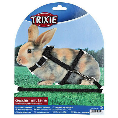 Black Adjustable Rabbit or Guinea Pig Harness with Detachable Lead