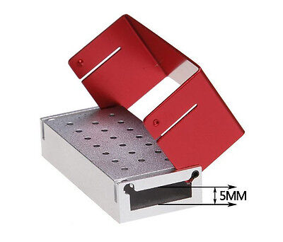 Dental 1.6mm Bur Holder Block ALUMINIUM Autoclave Box 20 Holes - RED (U.S.A)