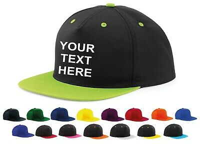 Personalised Embroidered Snapback Cap Custom HipHop Hat Retro Mens Ladies Unisex