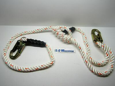 "5/8"" X 4'-7' Adjustable 3-Strand Rope Lanyard W/double Locking Steel Snap #75111"