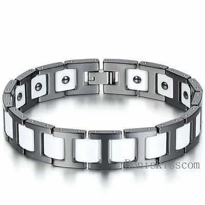 Black White Ceramic Link Chain Magnetic Therapy Power Men's Bracelet Gift