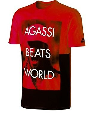 New Nike AIR FLARE AGASSI Tee Shirt 695733-660 Red Tennis Andre