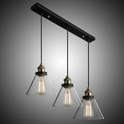 Industrial Pendant Light with Holder in Brass Color&Tapered Glass Shade CYDDTTLD