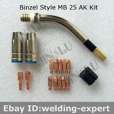 Binzel BW MB MB25 25AK 15pcs Kit Swan Neck Nozzle Tip Holder Tip 1.0mm Mig Gun