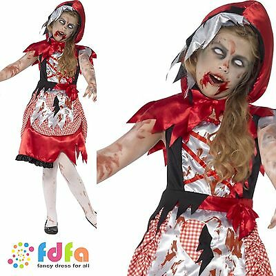 ZOMBIE MISS RED RIDING HOOD HALLOWEEN -age 4-12 - kids girls fancy dress costume