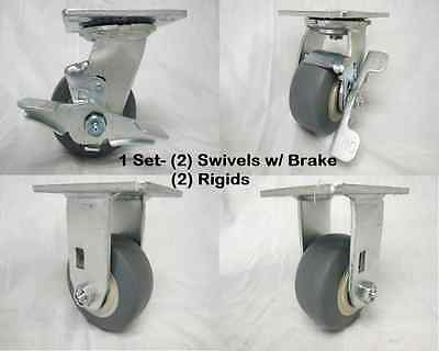"4"" x 2"" Swivel Caster w/ Brake Thermoplastic Wheel & Rigid 300 lbs Each Tool Box"