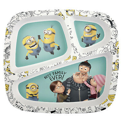 MINIONS-3-section divided melamine plate-new