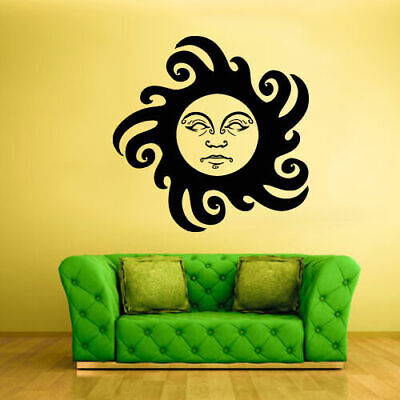 Wall Vinyl Sticker Bedroom Decal Sun Ethnical Symbol Moon Face (Z1924)