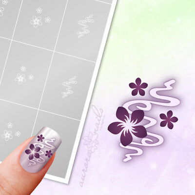 Airbrush + Nailart Stencils FS016 Ornament floral flowers 40x Adhesive
