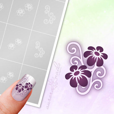 Airbrush + Nailart Stencils FS015 Ornament floral flowers 40x Adhesive