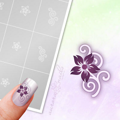 Airbrush + Nailart Stencils FS019 Ornament floral flowers 40x Adhesive