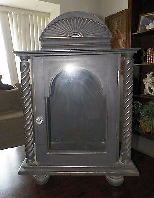 Vintage Black Wooden Display Case With Spindal Columns For Religious Figure