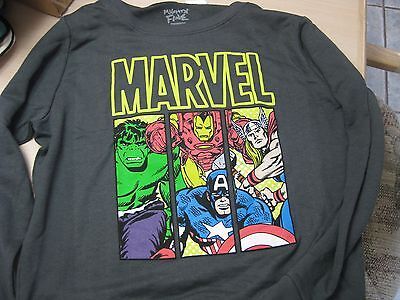 Disney Adult Marvel Characters Hulk Captain America Thor Iron Man Gray Shirt XL