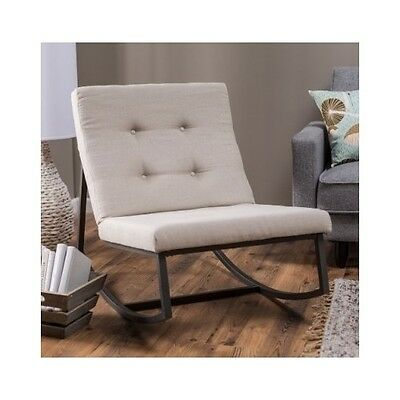 Upholstered Rocking Chair Tufted Baby Rocker Nursery Furniture Modern  Cushions