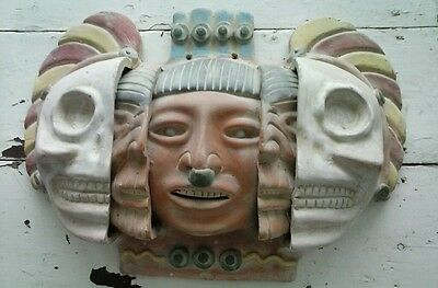 Mexico Aztec Three Ages of Man Clay Large Face Mask 3D Vintage Mayan Pottery Art