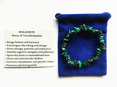 Malachite Gemstone Crystal Bracelet Chip Beads Stretch Jewellery Chakra