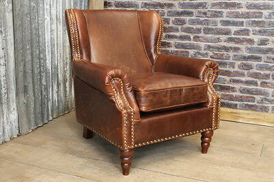 Large Vintage Antique Style Brown Leather Studded Armchair The Dorchester