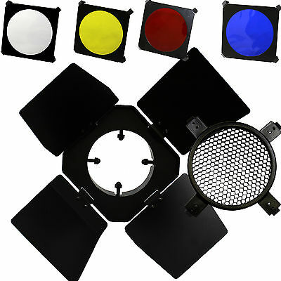 Photo Studio Flash Small Barn Door Set with Honeycomb Grid 4 Color Gels Filters