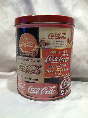 """Collectible Vintage Coca-Cola 1994 Tin Can Round 6.25""""x5"""" In Great Condition"""
