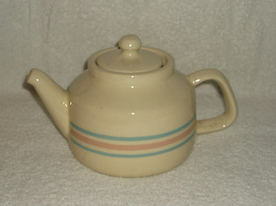 McCoy Ivory Off White with Pink and Blue Bands Coffee Tea Pot with Lid