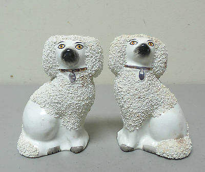 """PAIR OF 19th C. 4.5"""" STAFFORDSHIRE POTTERY SIEVED-CLAY POODLE FIGURES, pre-1860"""