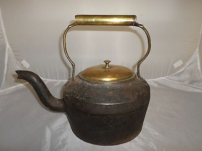 Victorian Antique Cast Iron and Brass Kettle