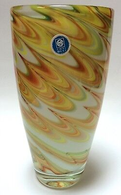 Vintage Chyi Meei Art Glass Vase White Yellow Orange Ribbon Swirls Korean