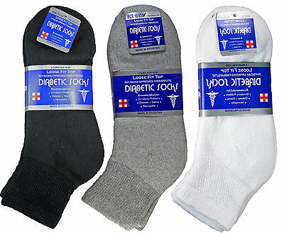 New 3-12 Pairs Mens Diabetic Ankle Quarter Socks Cotton Circulation Edema Loose