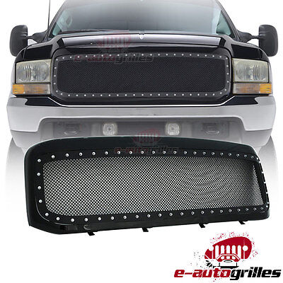 99-04 Ford Super Duty 250/350 Rivet Black SS Wire Mesh Grille Grill W/Shell