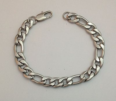 SOLID STAINLESS STEEL BRACELET 0.9cm x 22cm Long Curb Link Chain + Silver Bag 1x