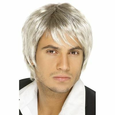 Mens 90's Light Blonde & Brown Boy Band Wig Fancy Dress Costume Pop Music Fringe