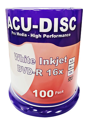 100x Blank ACU-DISC DVD-R 4.7GB 16x White Inkjet Full-Face Anti Scratch