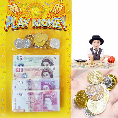 Fake Money Kids Play Notes Coin Novelty Prop Currency Pretend Role Play Fun Shop