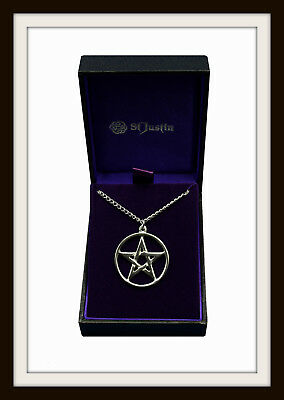 Pentagram Pentacle Star ~ Pewter Pendant Necklace ~ From St. Justin ~ Free P&P