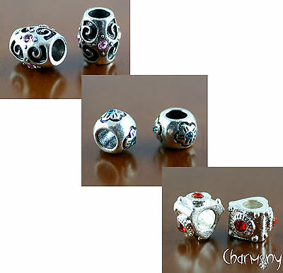 Rhinestone European spacer beads ~2pc~ CHOOSE colour style antique silver plated
