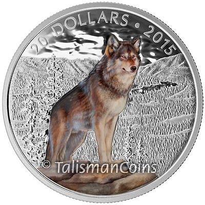 Canada 2015 Iconic Canadian Animals #8 Imposing Alpha Male Wolf $20 Silver Proof