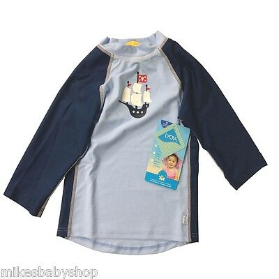 iplay Three Quarter Sleeve Rashguard, 4T, 3-4 years, Light Blue Pirate Ship