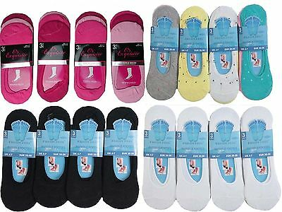 12 X  Ladies Womens Invisible Girls Footsies Trainer Shoe Liner Ballerina Socks
