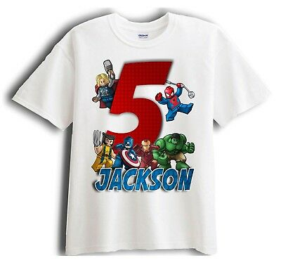 Lego Avengers Superheroes Personalized - Birthday T-Shirt Party Favor