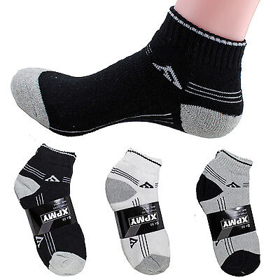 New 12 Pairs Ankle Quarter Crew Mens Socks Cotton Sports Striped Size 9-11 10-13