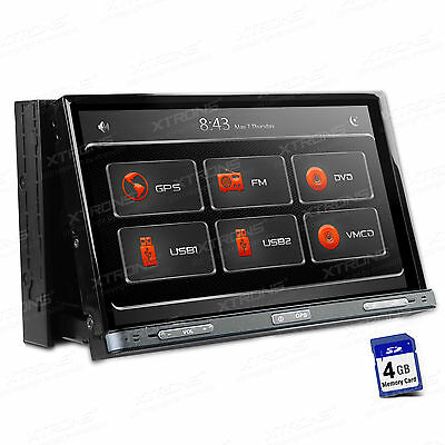 "7"" Double Din Car DVD CD Player Radio Stereo GPS Motorized Touch Screen USB RDS"
