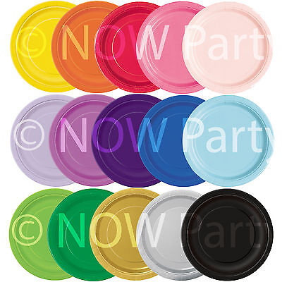 "16 x 9"" ROUND Paper PLATES 22cm Plain Solid Colours Birthday BBQ Party Tableware"