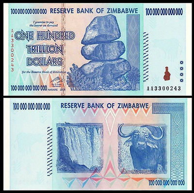 Zimbabwe 100 TRILLION Dollars AA- 2008 P-91 UNC CANADIAN Seller
